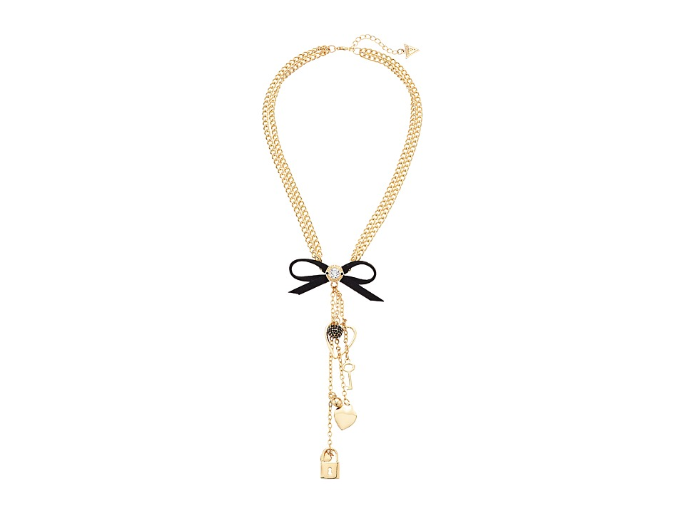 GUESS - Double Chain with Bow Detail Y Necklace (Gold/Jet) Necklace