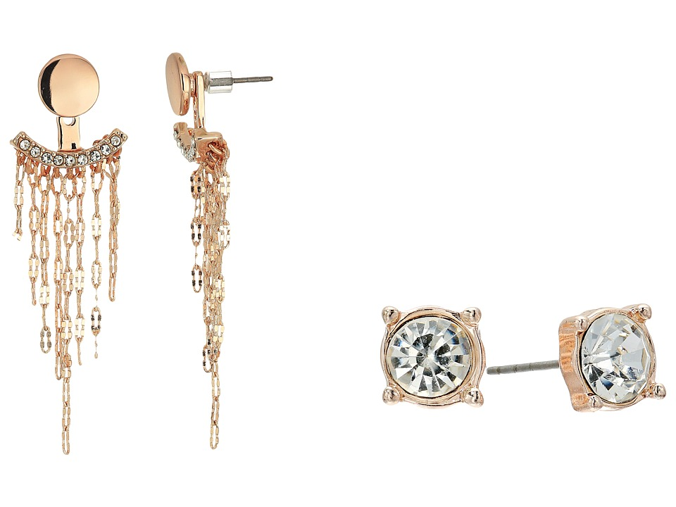 GUESS - Stud and Front Back Earrings with Chain Fringe (Rose Gold/Crystal) Earring