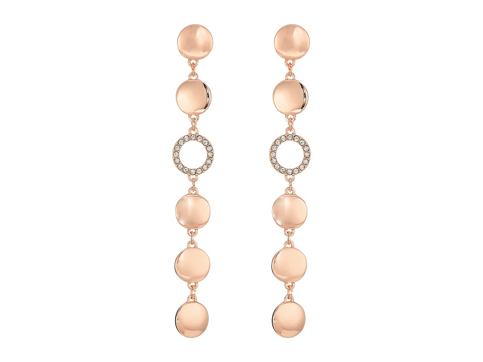 GUESS - Disc Drop Linear Earrings (Rose Gold/Matte Gold) Earring