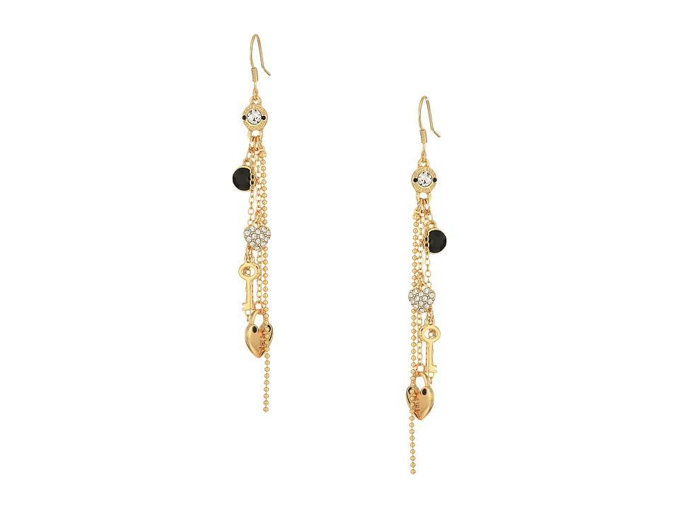 GUESS - Charmy Linear Earrings (Gold/Jet) Earring
