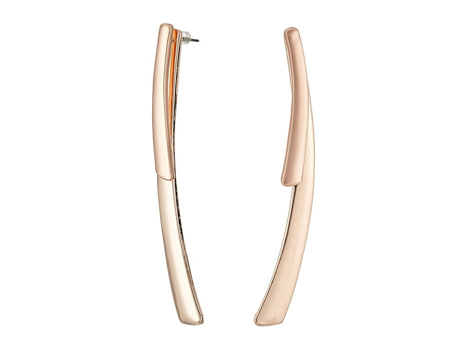 GUESS - Double Curved Stick Earrings (Rose Gold/Matte Gold) Earring