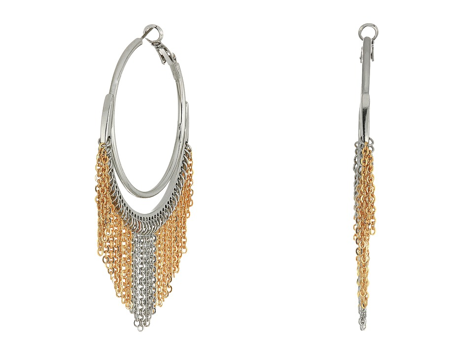 GUESS - Hoop Earrings with Chain Fringe (Silver/Gold) Earring