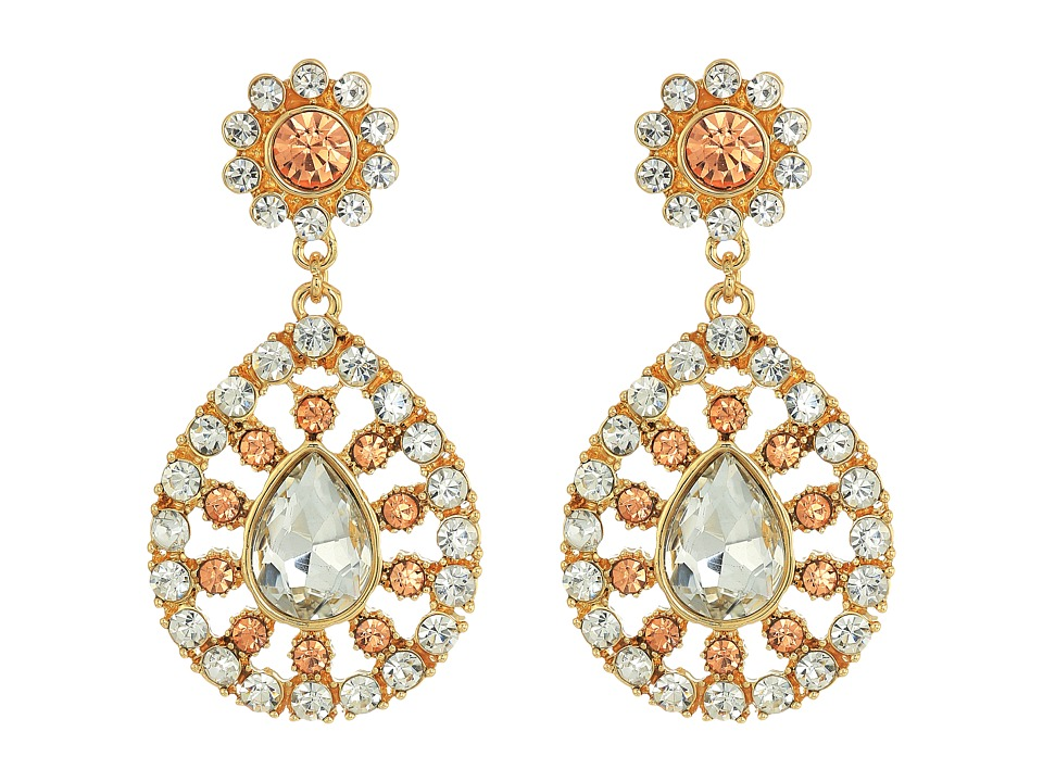GUESS - Stone Teardrop Luxe Earrings (Gold/Crystal/Light Peach) Earring