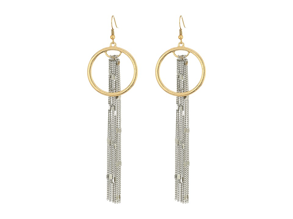 GUESS - Long Fringe Chain with Ring Drop Earrings (Silver/Gold) Earring