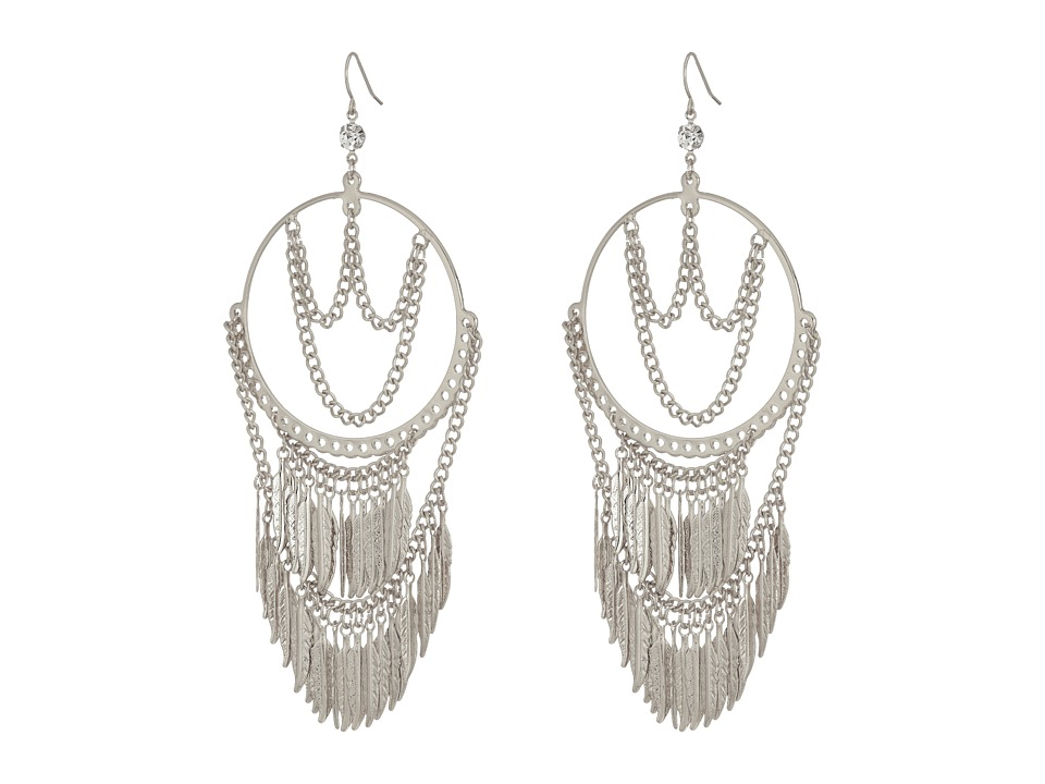 GUESS - Hoop Earrings with Draped Chain and Drops (Silver/Crystal) Earring
