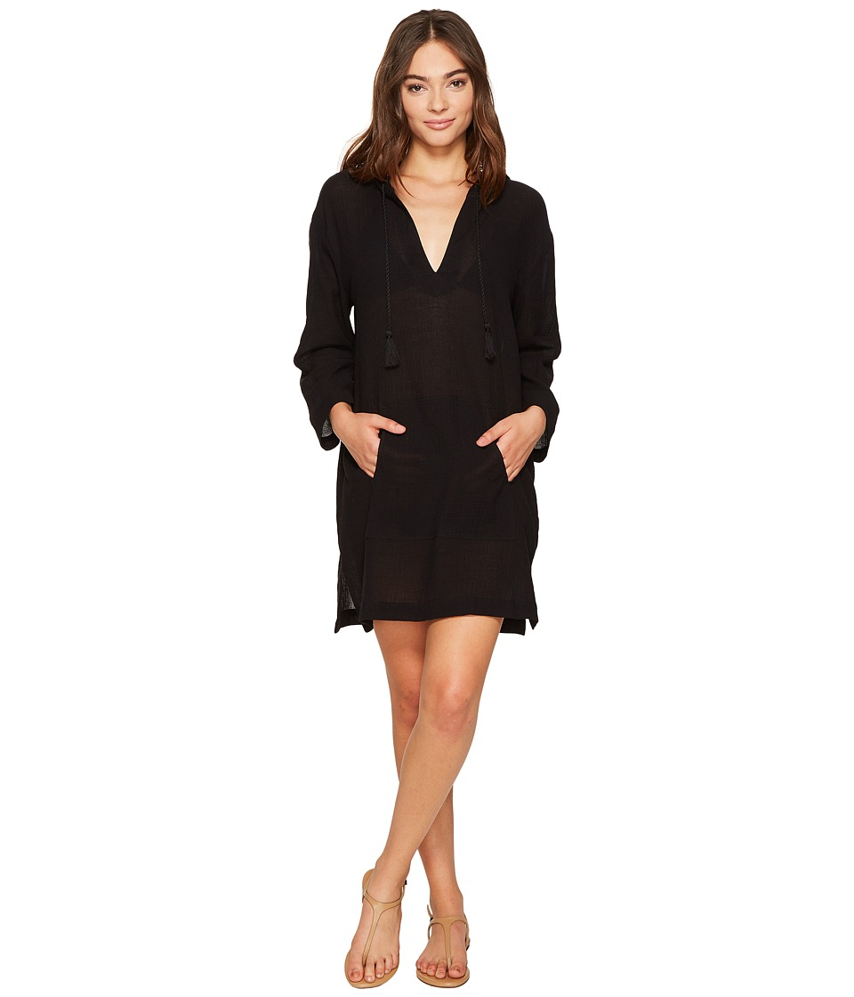 Seafolly Hooded Crinkle Twill Cover-Up (Black) Women