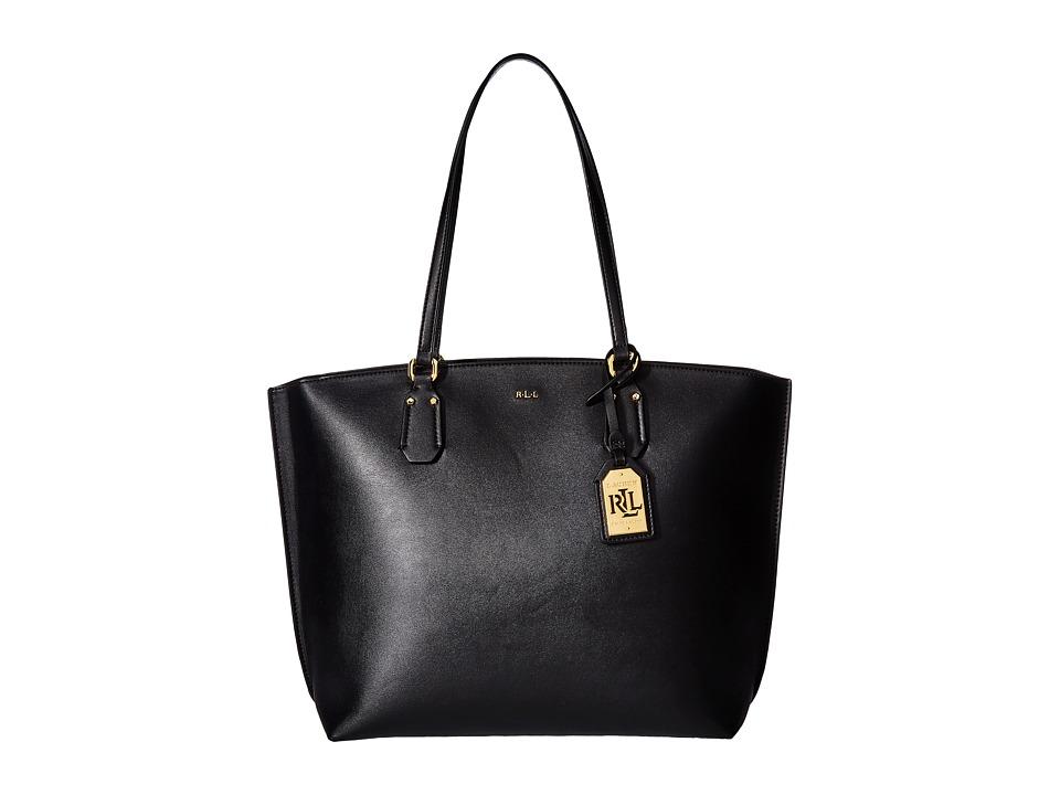 LAUREN Ralph Lauren - Lauderdale Tanner Medium Tote (Black) Tote Handbags