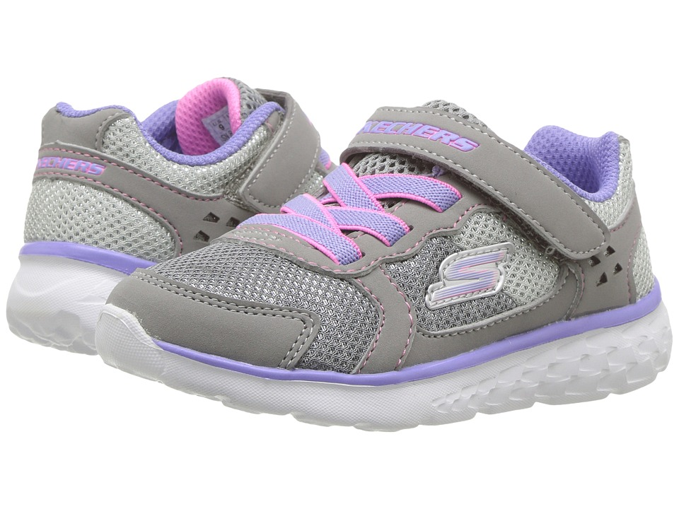SKECHERS KIDS - Go Run 400 (Toddler) (Grey/Lavender) Girl's Shoes