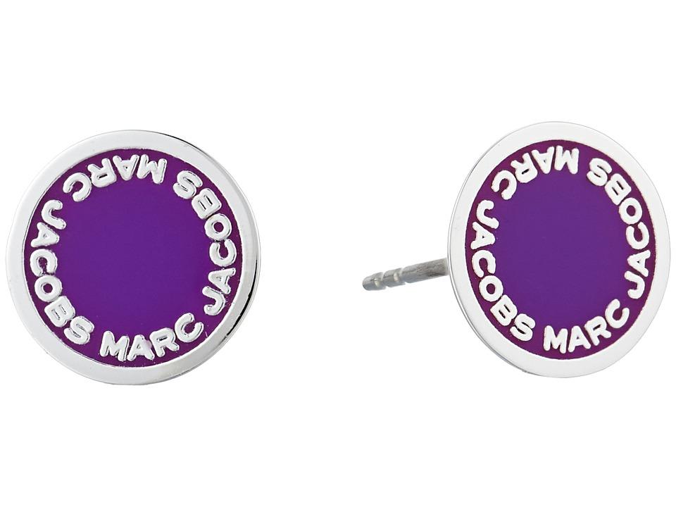 Marc Jacobs - Logo Disc Enamel Studs Earrings (Purple) Earring