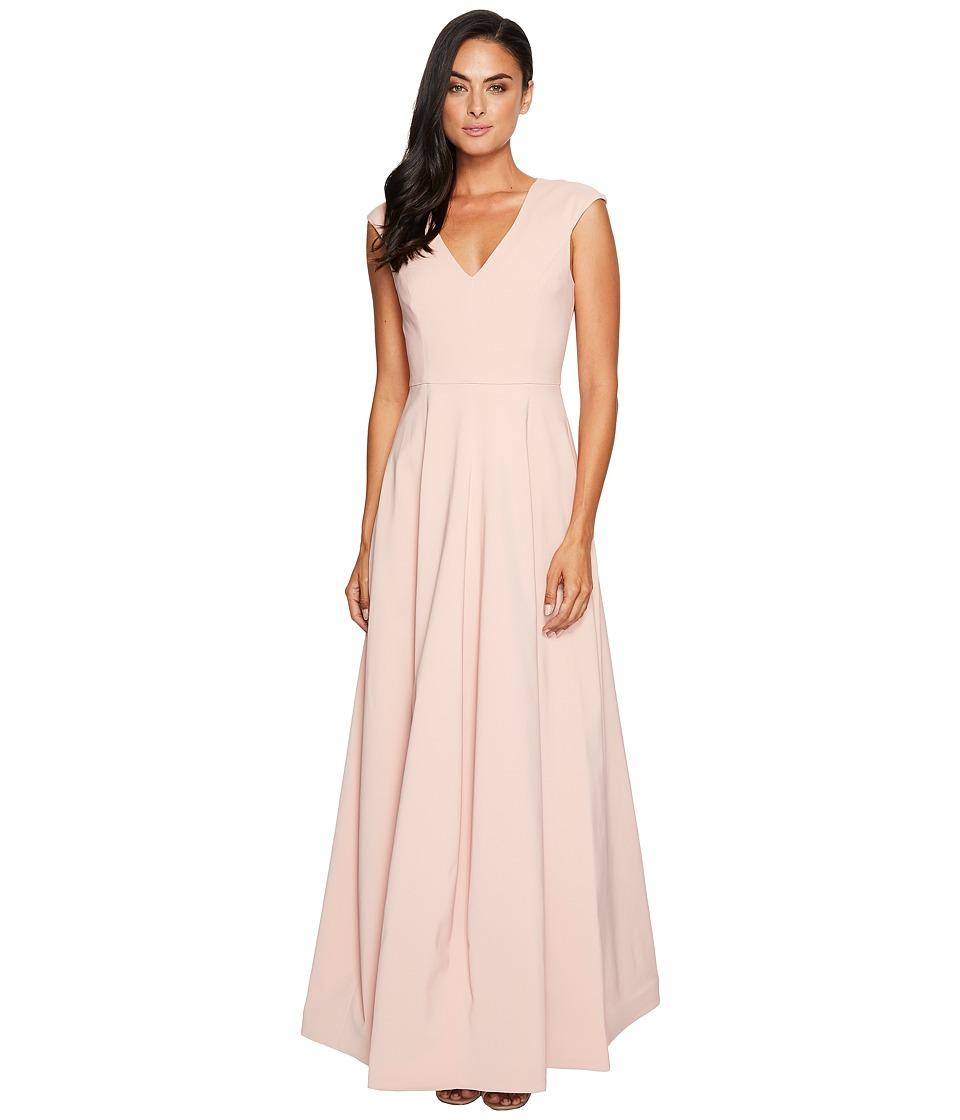 Halston Heritage Cap Sleeve V-Neck Silk Faille Gown (Blush) Women