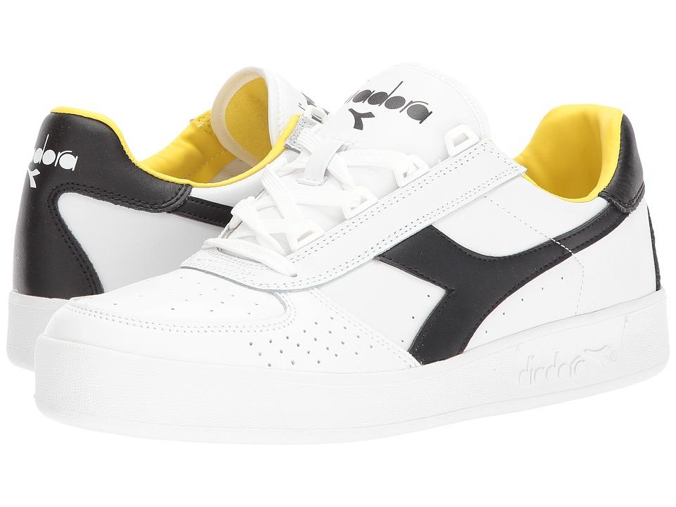 Diadora B. Elite (White/Black/Cyber Yellow) Athletic Shoes
