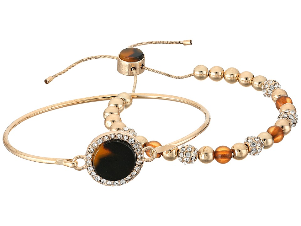 GUESS - Duo Bracelet Set w/ Tension and Slider Close Bracelet (Gold/Crystal/Tortoise) Bracelet