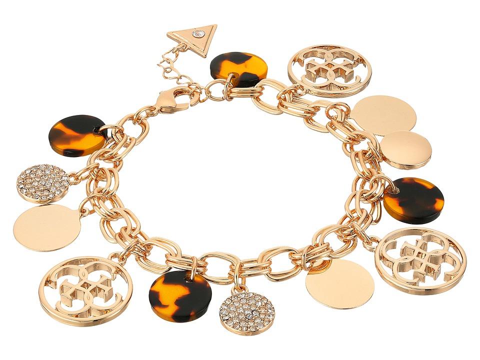 GUESS - Multi Disc Charm Logo Bracelet (Gold/Crystal/Tortoise) Bracelet