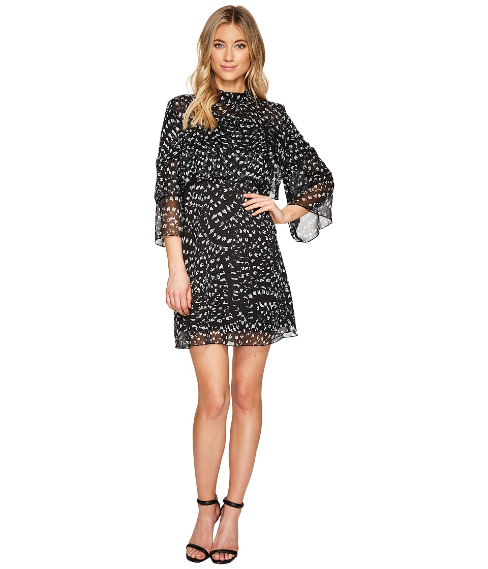 Catherine Malandrino 3 4 Sleeve Large Ruffle A Line Dress Texture Animal
