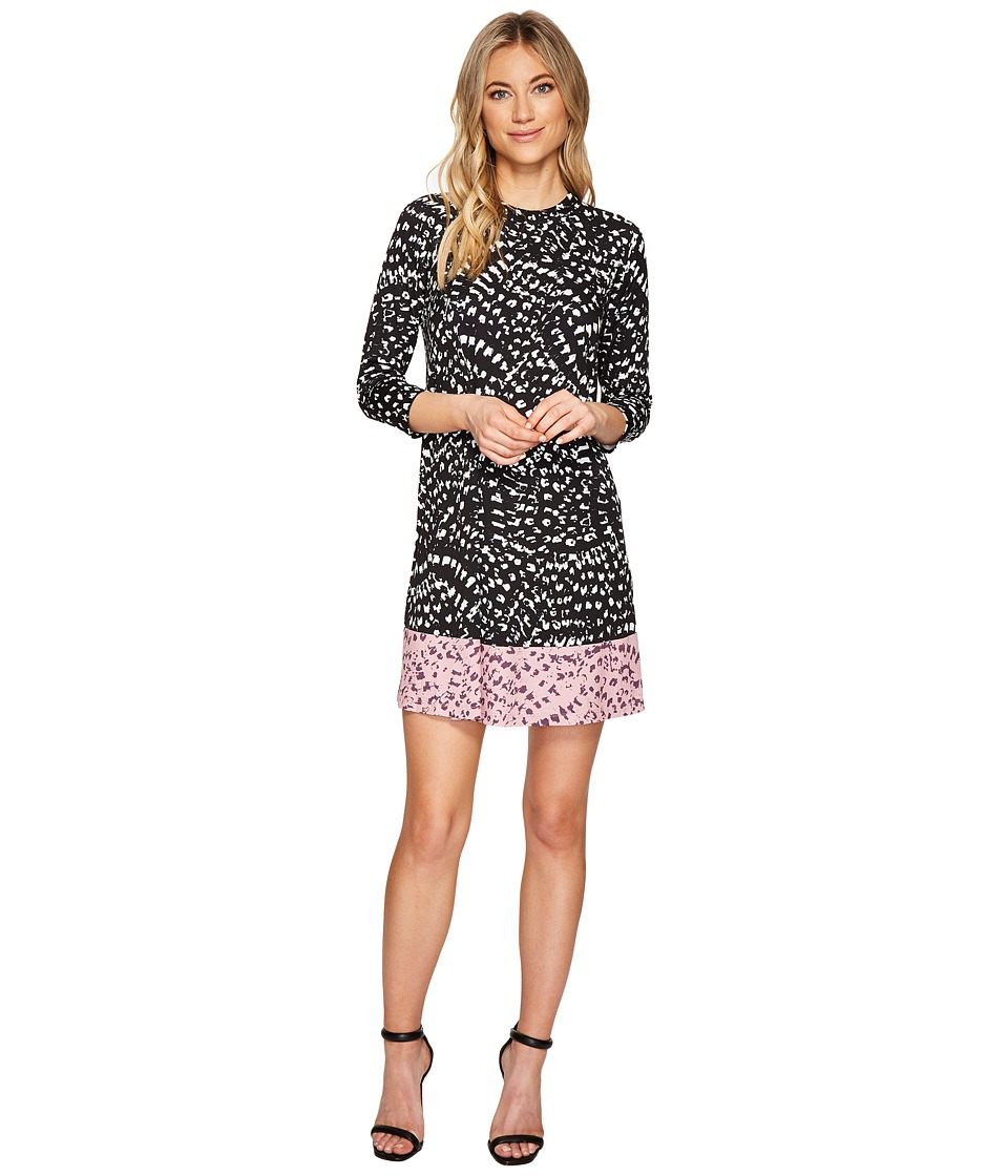 Catherine Malandrino 3 4 Sleeve A Line Swing Dress Texture Animal Combo