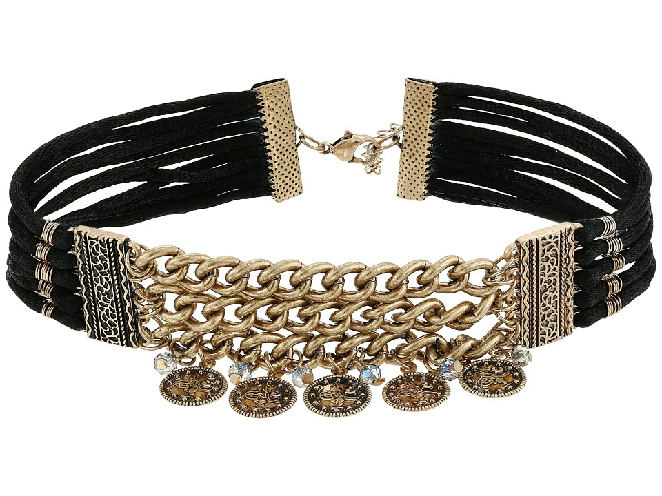 GUESS - Wide Chain Front Choker w/ Coin Drops (Burnished Gold/Black) Necklace