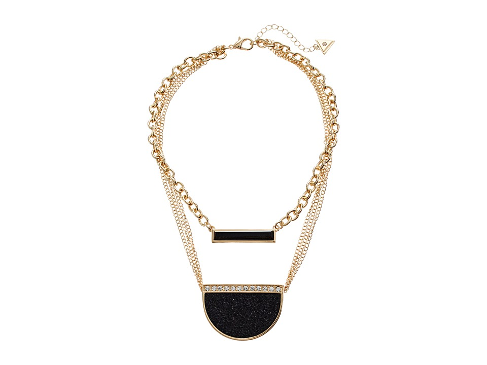 GUESS - Duo Necklace w/ Bar and Pendant (Gold/Jet/Crystal) Necklace