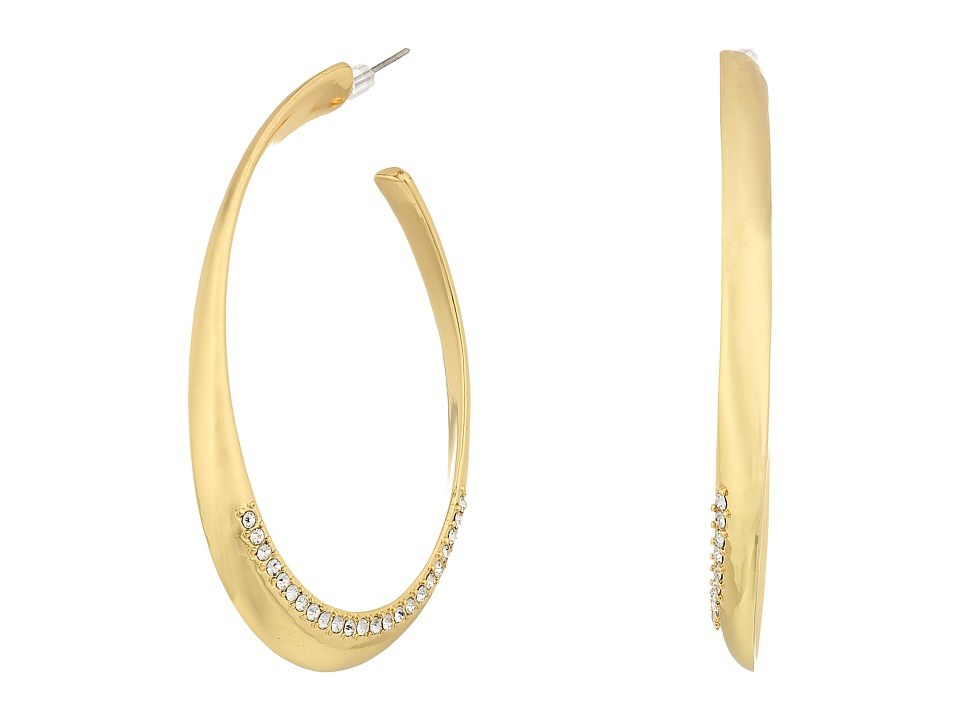 GUESS - Oval Hoop Earrings w/ Pave Accent (Gold/Crystal) Earring