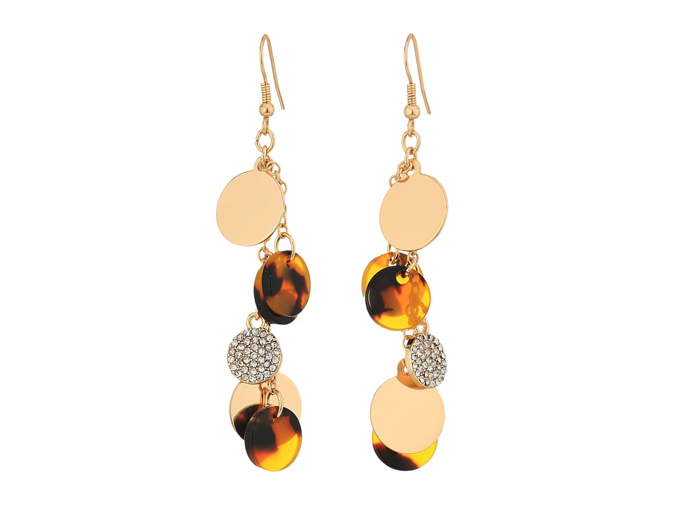 GUESS - Multi Disc Drop Linear Earrings (Gold/Crystal/Tortoise) Earring