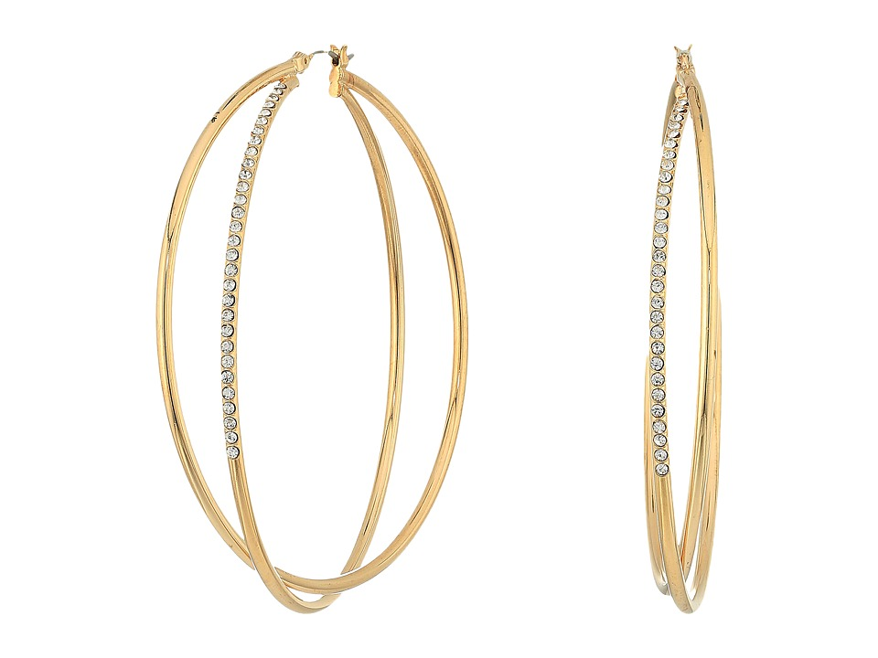 GUESS - Double Wire Crisscross Hoop Earrings (Gold/Crystal) Earring