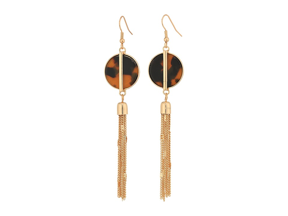 GUESS - Disc w/ Chain Linear Earrings (Gold/Tortoise) Earring