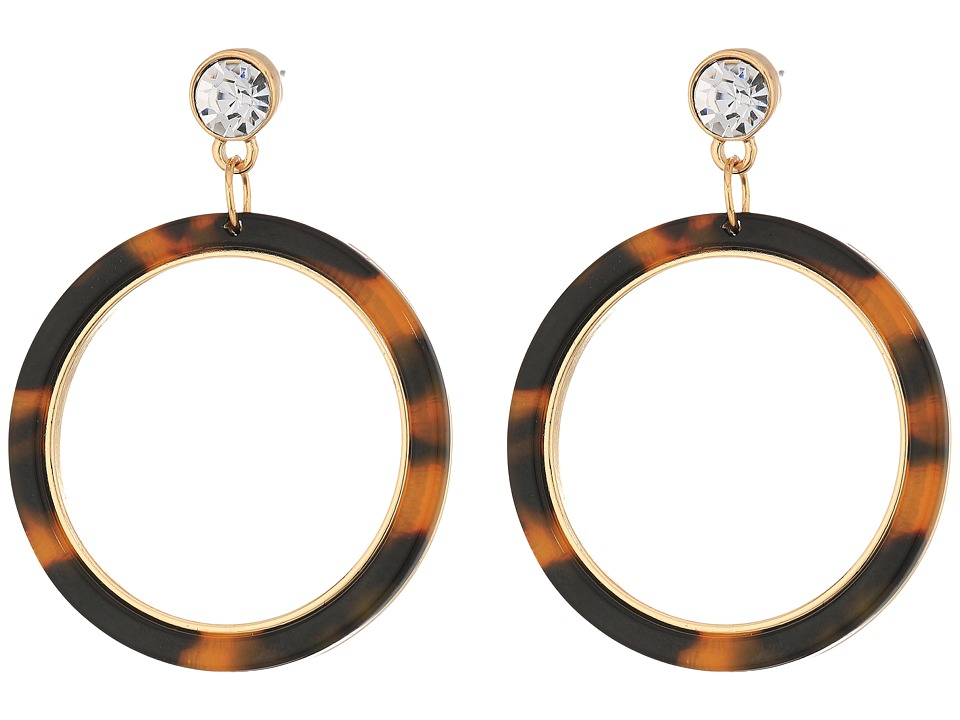 GUESS - Tortoise Ring Drop Earrings (Gold/Crystal/Tortoise) Earring