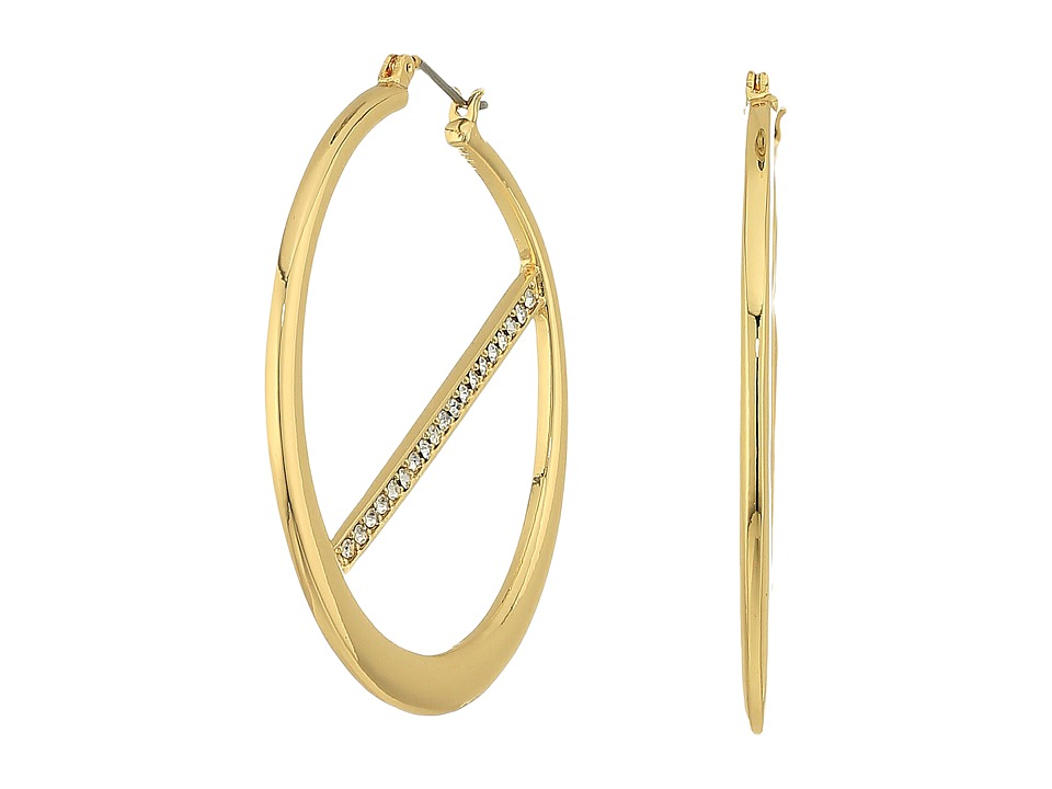 GUESS - Hoop Earrings w/ Pave Bar Inside (Gold/Crystal) Earring