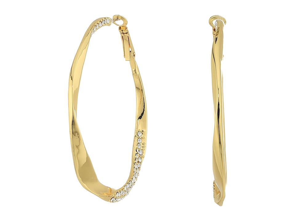 GUESS - Twist Hoop Earrings w/ Pave Accent (Gold/Crystal) Earring