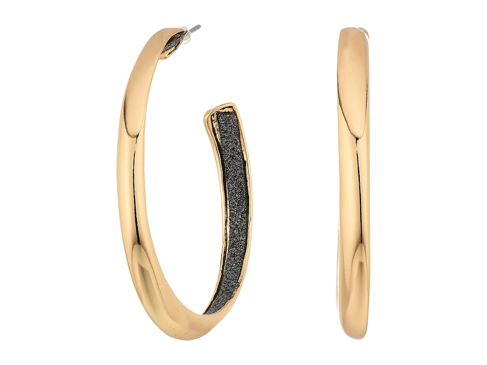 GUESS - Medium Hoop Earrings w/ Jet Inside (Gold/Jet) Earring