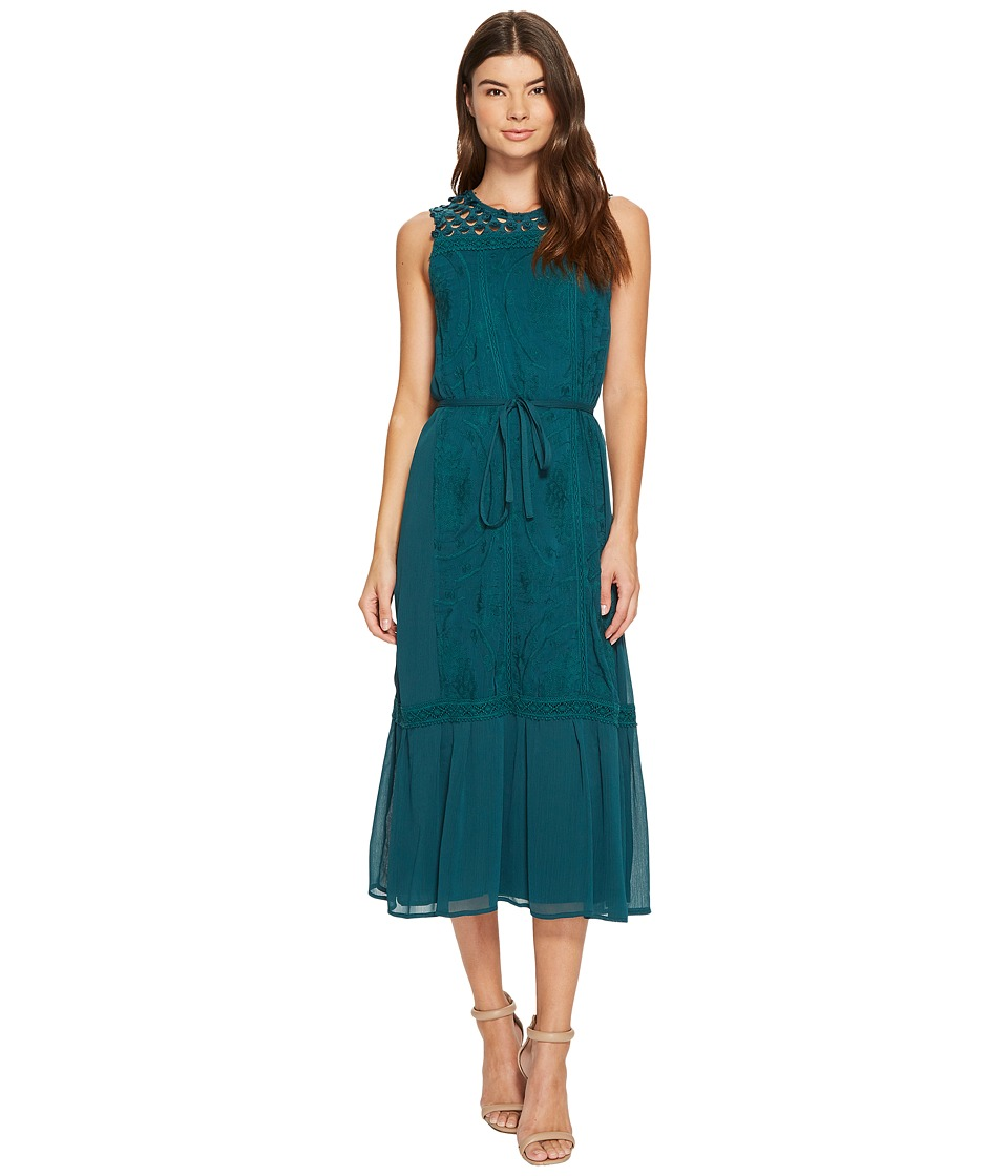 CATHERINE Catherine Malandrino Embroidered Tiered Midi Dress (Deep Teal) Women