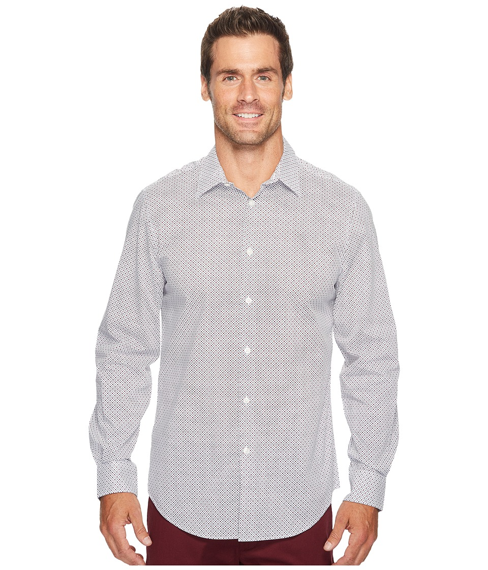 Perry Ellis - Multicolor Mini Dot Print Shirt (Bright White) Men's Long Sleeve Button Up