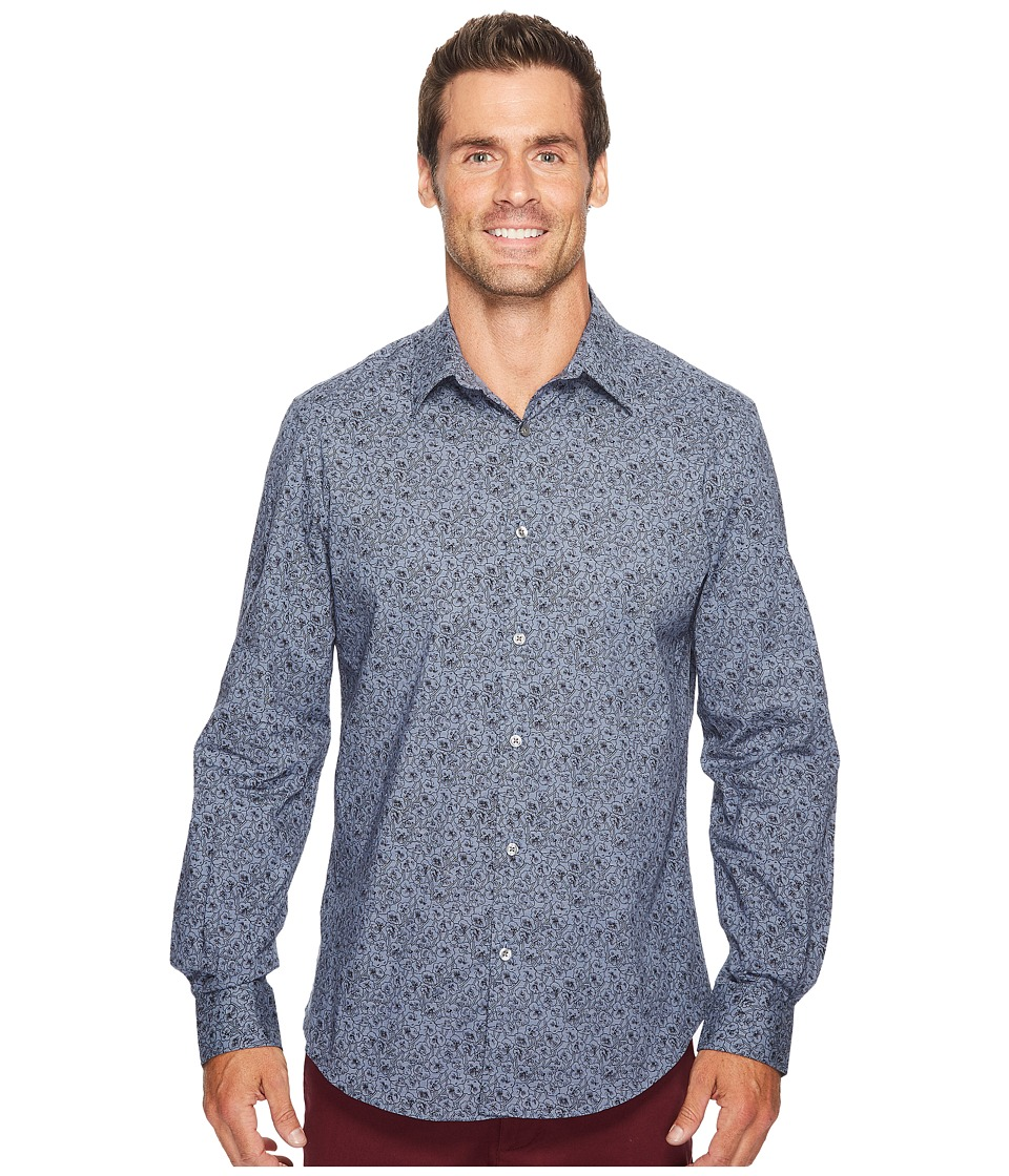 Perry Ellis - Midnight Floral Shirt (Blueprint) Men's Long Sleeve Button Up