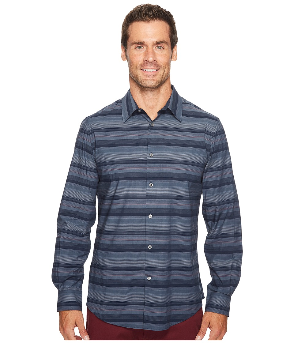 Perry Ellis - Wide Engineered Multi Stripe Shirt (Dark Sapphire) Men's Long Sleeve Button Up