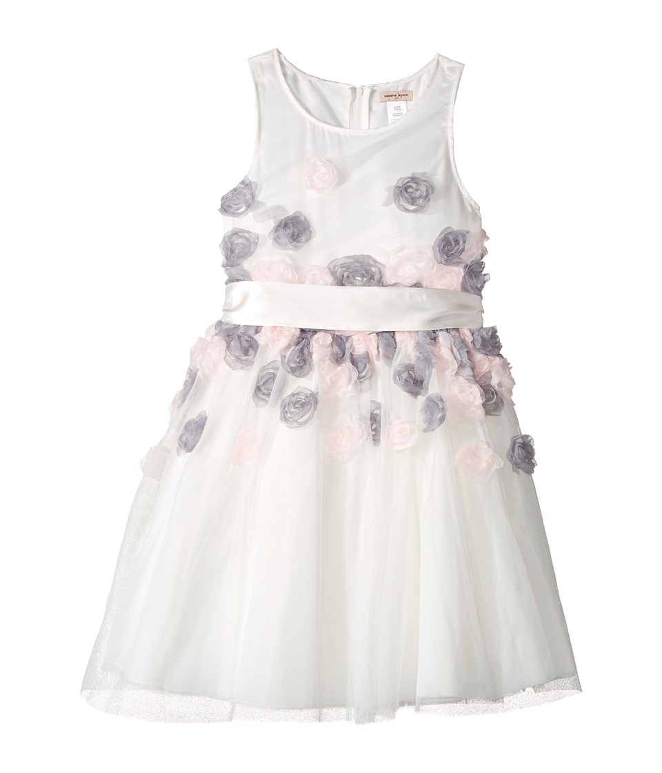 Nanette Lepore Kids - Mesh Dress with 3-D Roses (Little Kids/Big Kids) (White) Girl's Dress