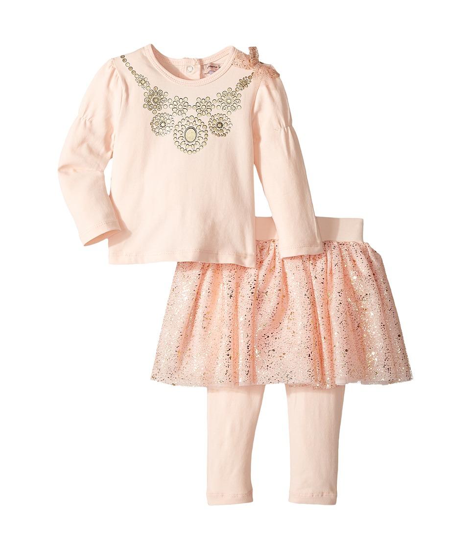 Nanette Lepore Kids - Necklace Top with Foil Tutu and Leggings Set (Infant) (Light Pink) Girl's Active Sets