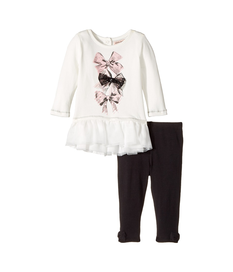 Nanette Lepore Kids - Bow Detail Top with Leggings Set (Infant) (Off-White) Girl's Active Sets