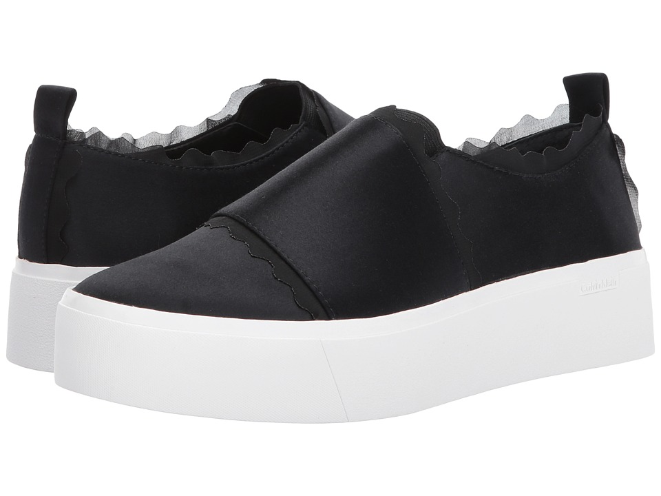 Calvin Klein - Jameelah (Black Satin/Tulle) Women's Slip on Shoes