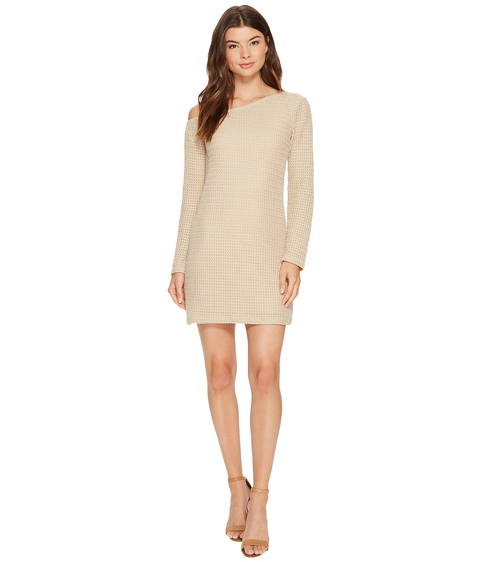 MINKPINK - Waffle On One Shoulder Dress (Stone) Women's Dress