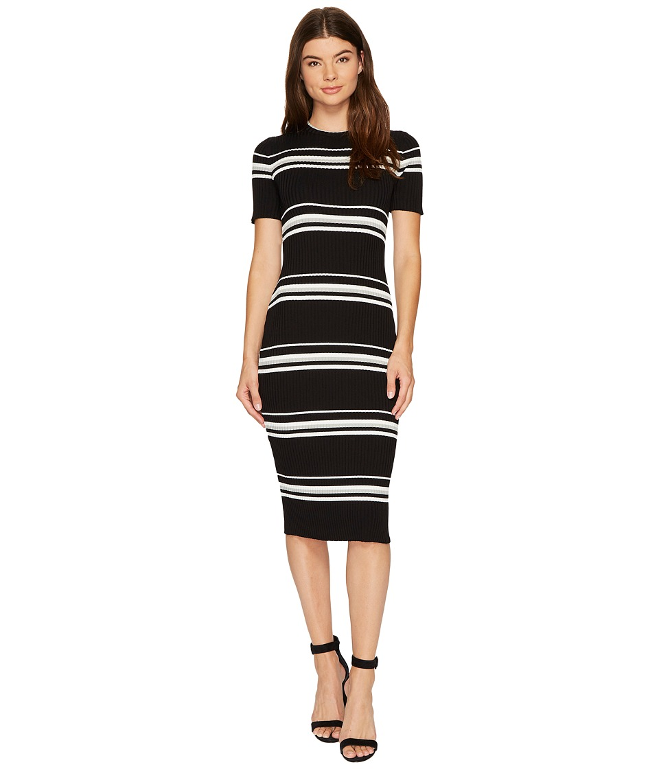 MINKPINK - Stripe Rib Sweater Midi Dress (Black Stripe) Women's Dress