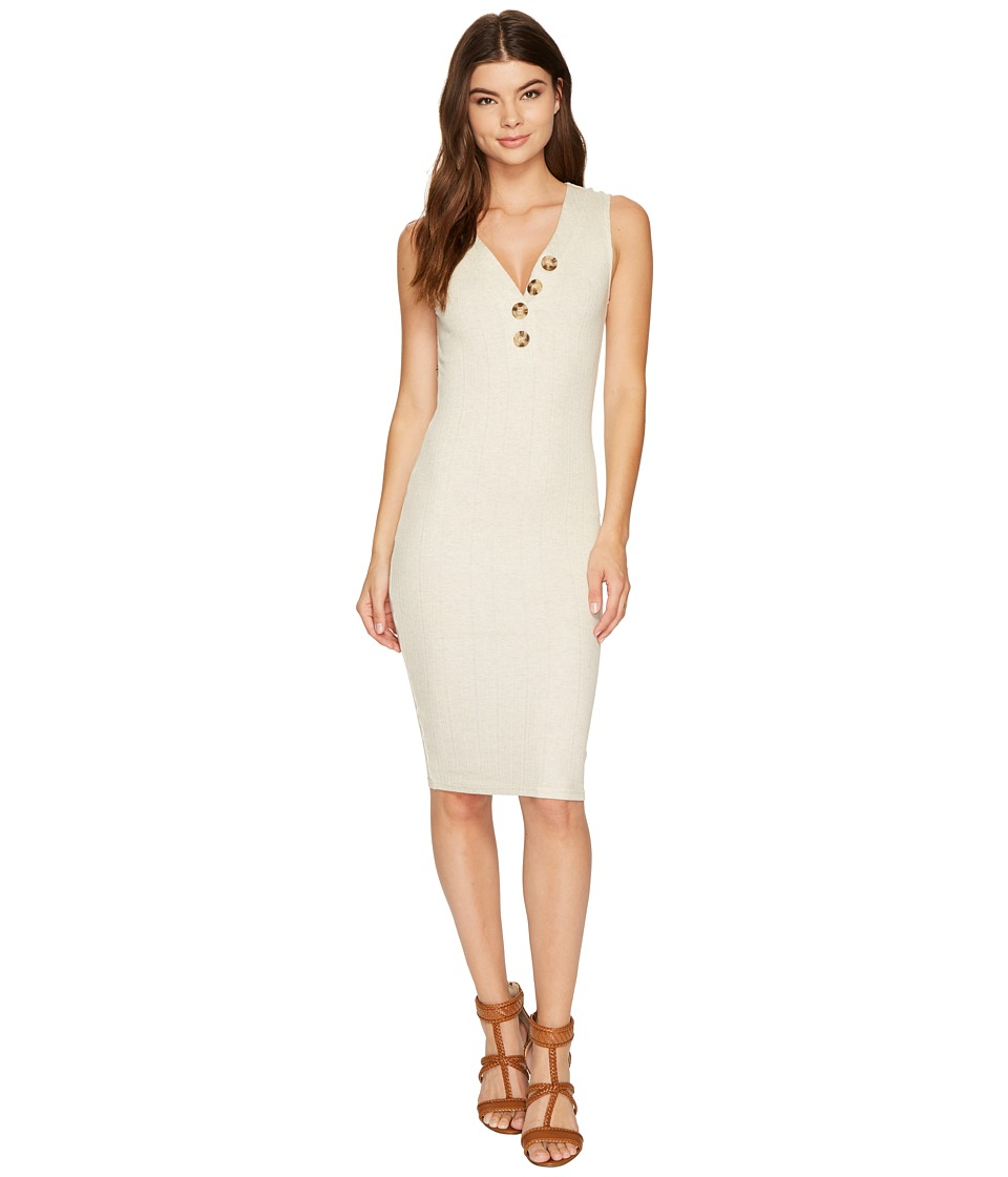 MINKPINK - Marle Desert Rib Midi Dress (Cream/Marle) Women's Dress