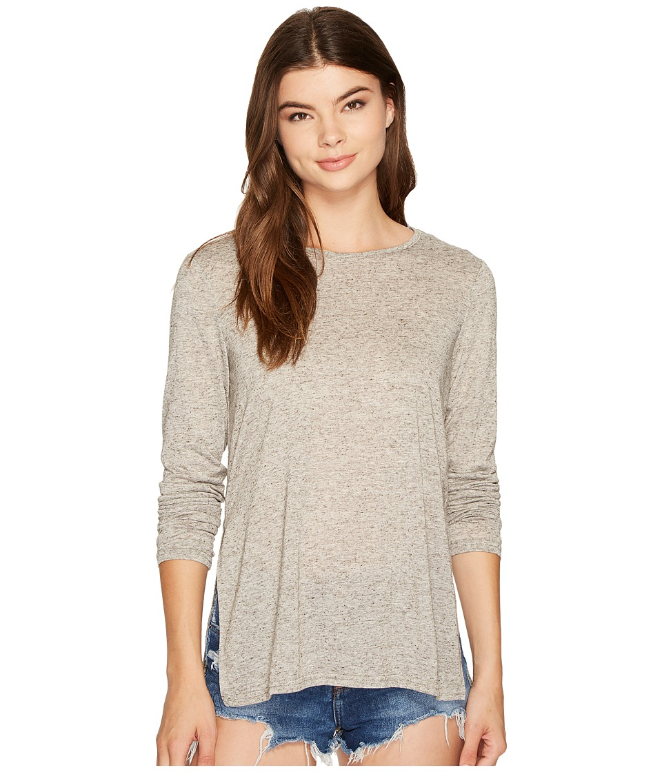 MINKPINK - Side Split Long Sleeve Tee (Grey/Charcoal) Women's T Shirt