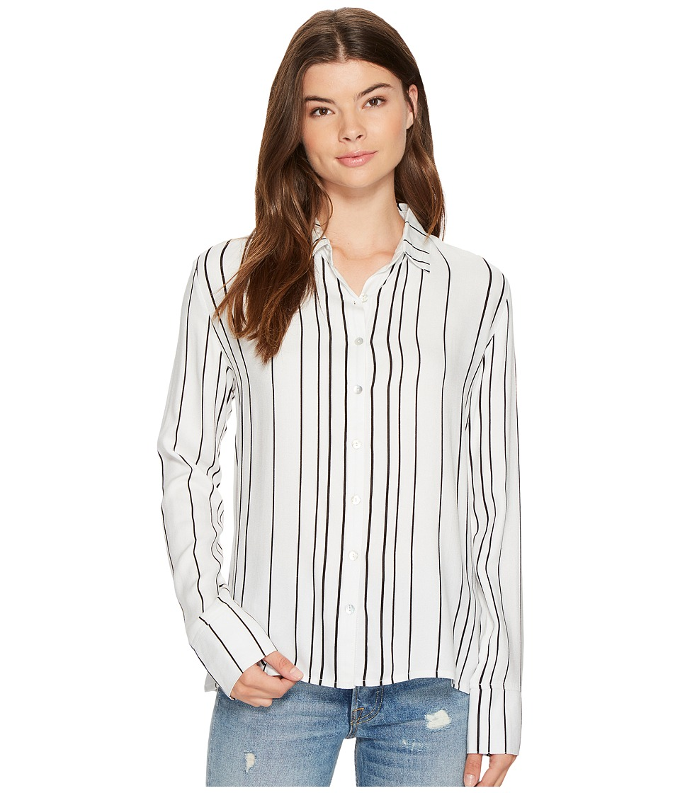 MINKPINK - Stripe Soft Shirt (Off-White/Black) Women's Clothing