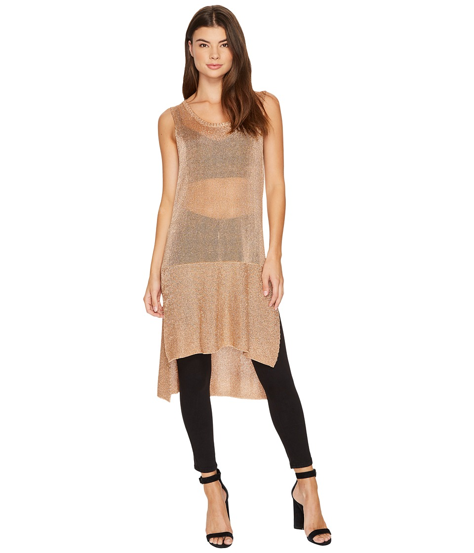 MINKPINK - Metallic Knit Tunic Tank Top (Rose Gold) Women's Sleeveless
