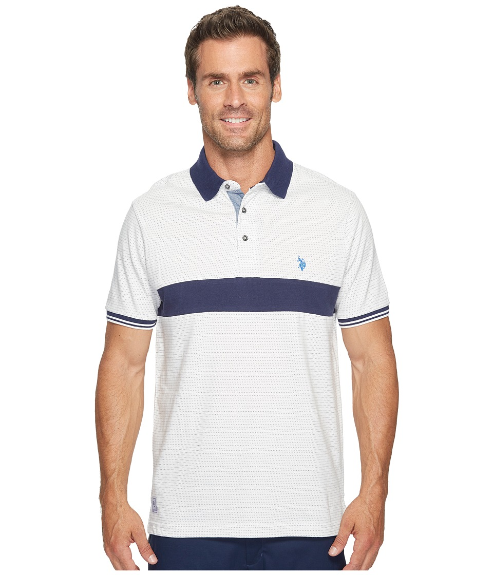 U.S. POLO ASSN. - Classic Fit Color Block Short Sleeve Jersey Polo Shirt (White Winter) Men's Short Sleeve Pullover