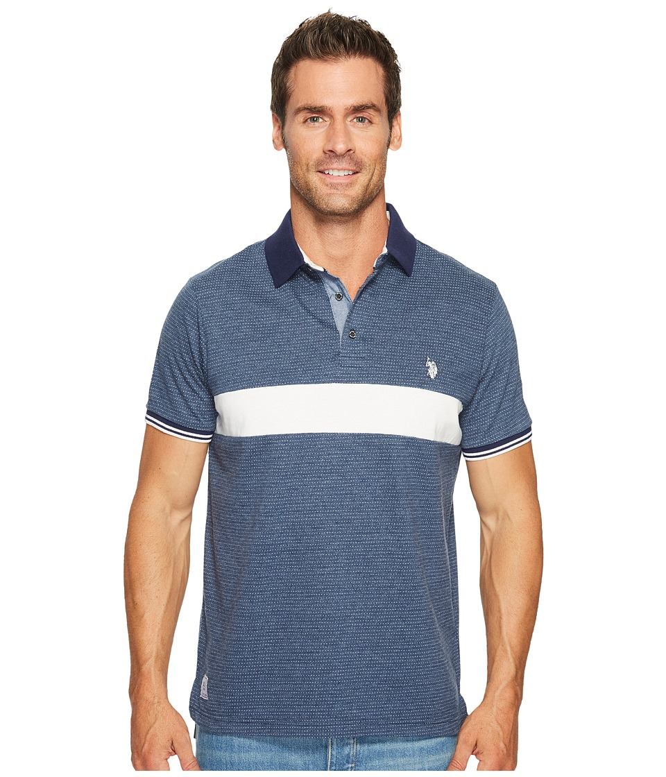U.S. POLO ASSN. - Classic Fit Color Block Short Sleeve Jersey Polo Shirt (Rinse Blue Heather) Men's Short Sleeve Pullover