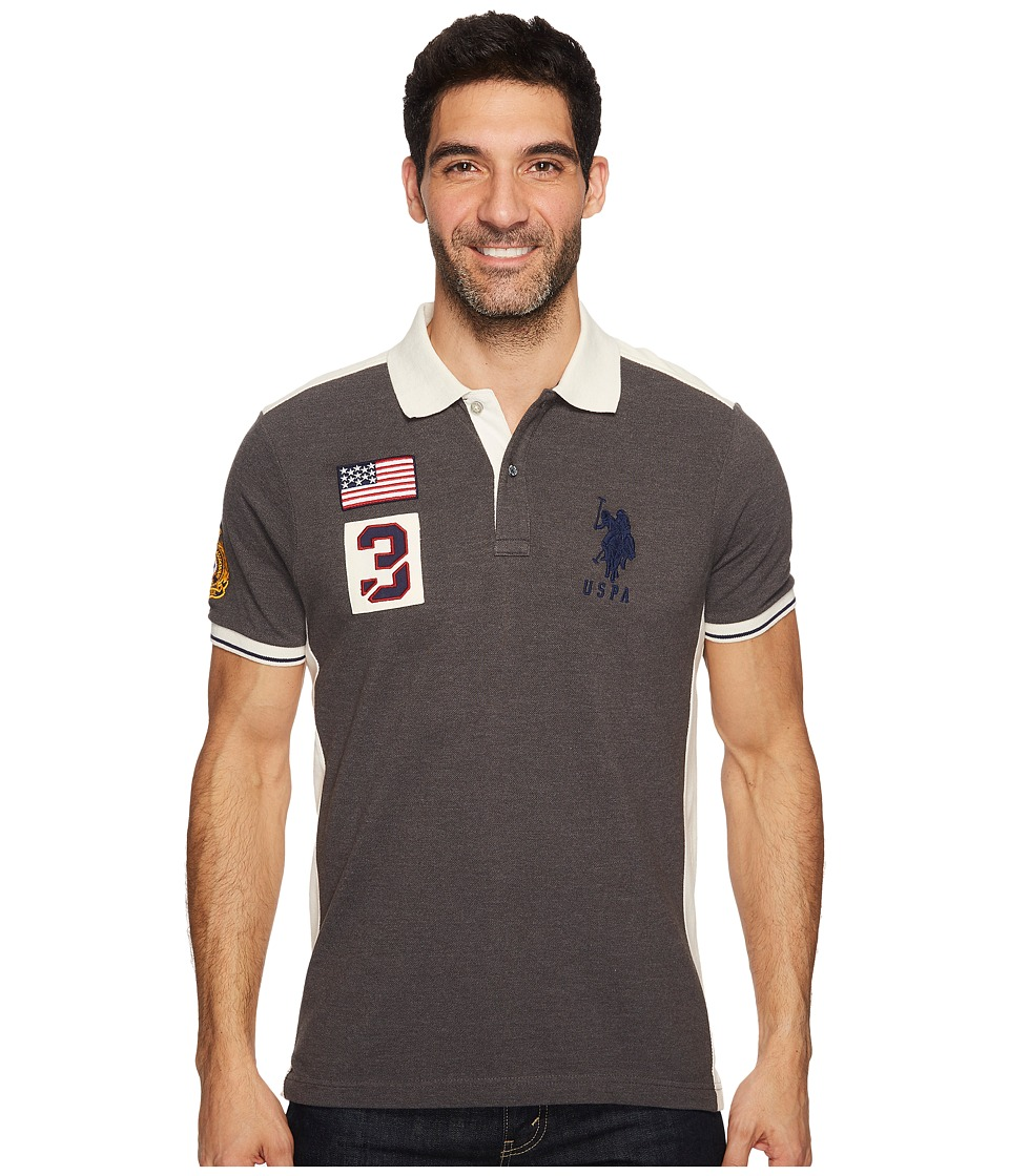 U.S. POLO ASSN. Classic Fit Color Block Short Sleeve Pique Polo Shirt (Dark Heather Grey) Men