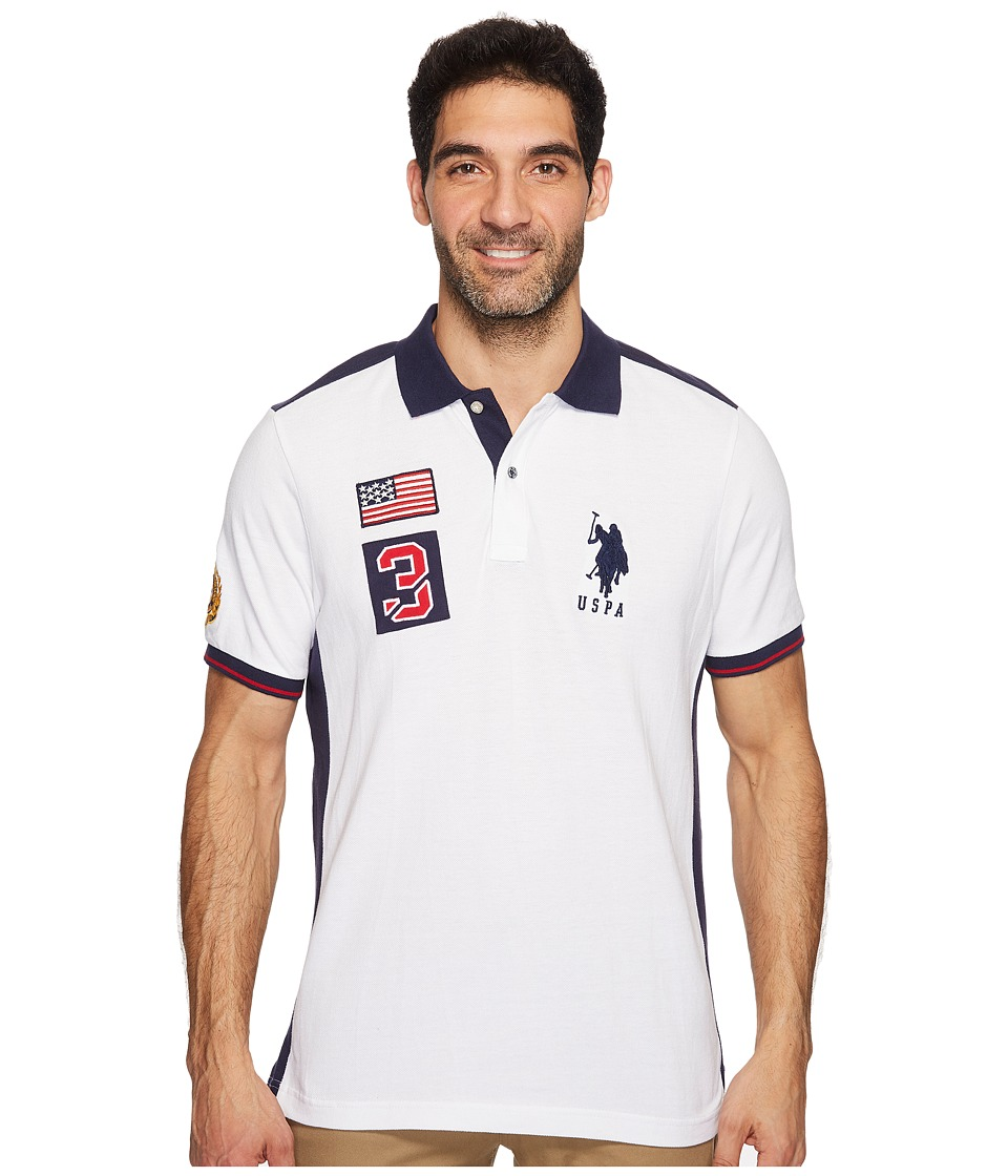 U.S. POLO ASSN. Classic Fit Color Block Short Sleeve Pique Polo Shirt (White) Men