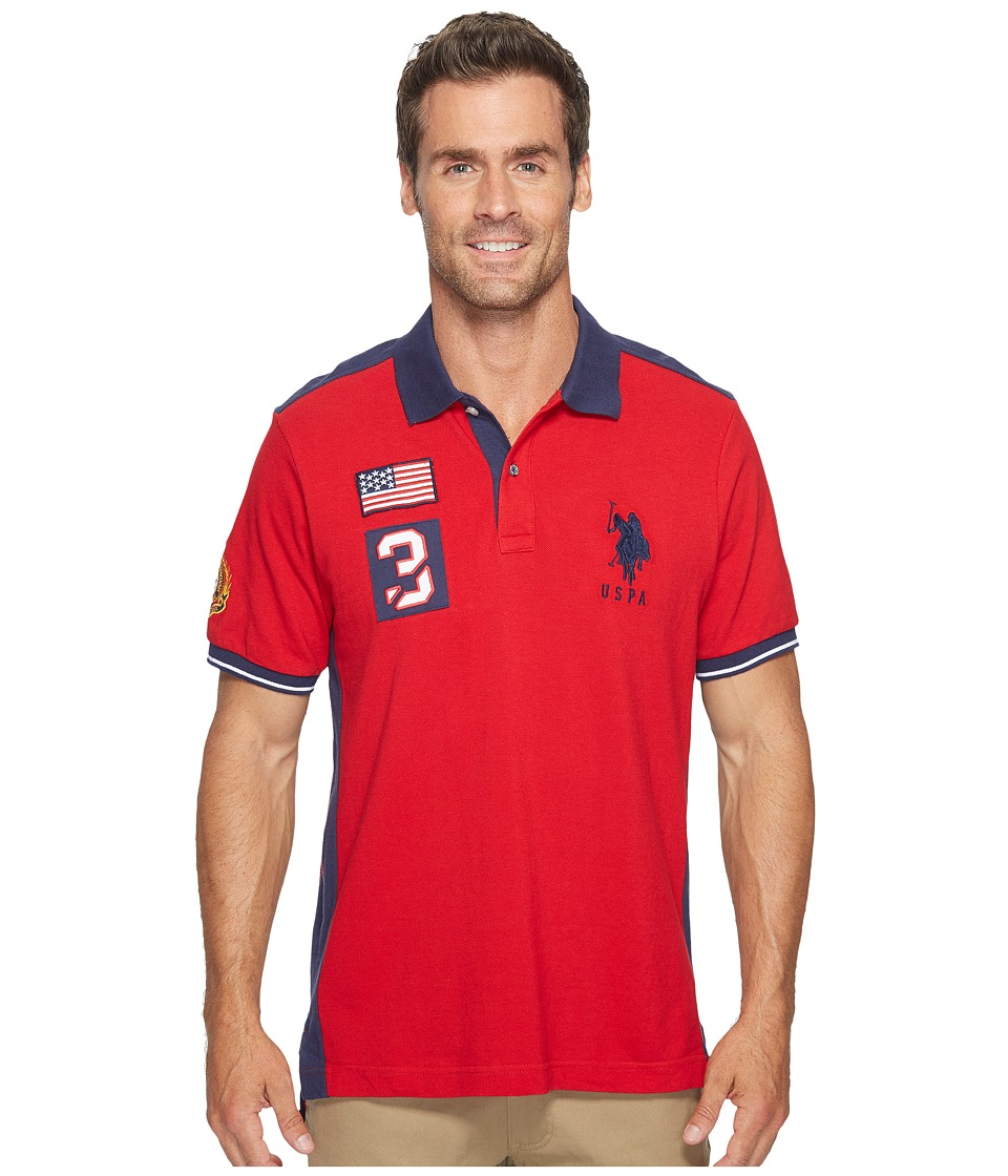 U.S. POLO ASSN. - Classic Fit Color Block Short Sleeve Pique Polo Shirt (Engine Red) Men's Short Sleeve Pullover