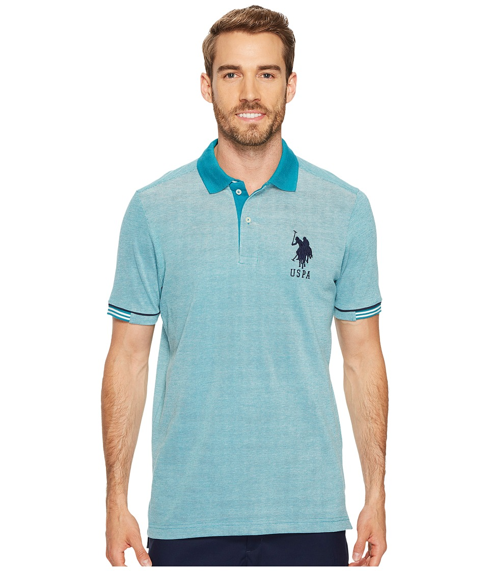 U.S. POLO ASSN. - Classic Fit Color Block Short Sleeve Pique Polo Shirt (Shocking Peacock) Men's Short Sleeve Pullover
