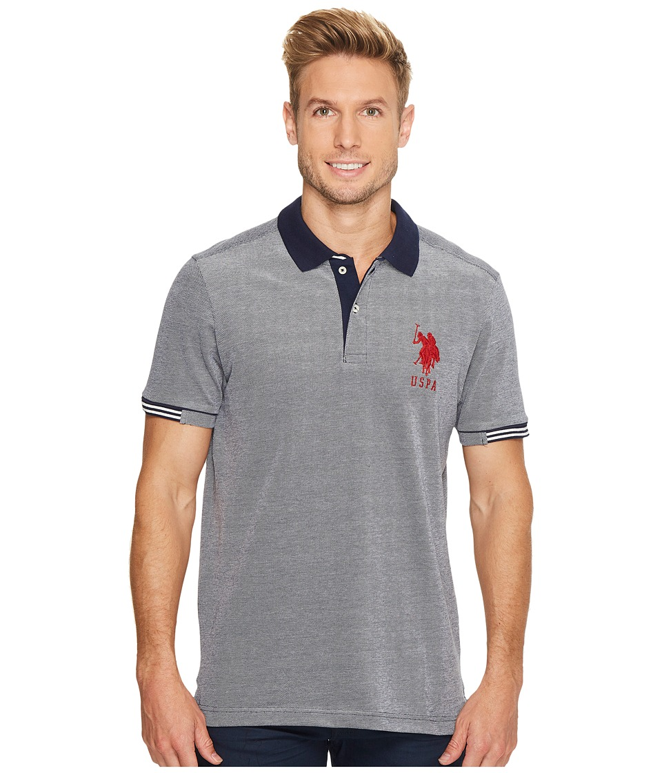 U.S. POLO ASSN. - Classic Fit Color Block Short Sleeve Pique Polo Shirt (Classic Navy) Men's Short Sleeve Pullover